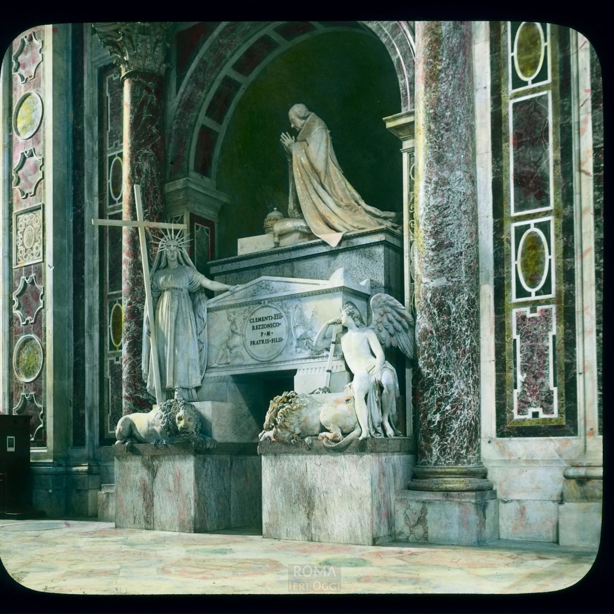 """Vatican City. St. Peter's Basilica: Canova's """"Tomb of Pope Clement XIII (Monument to Clement XIII)"""" View in tinted lantern slide, ca. 1919-1938. The marble monument dates from 1783-1792."""