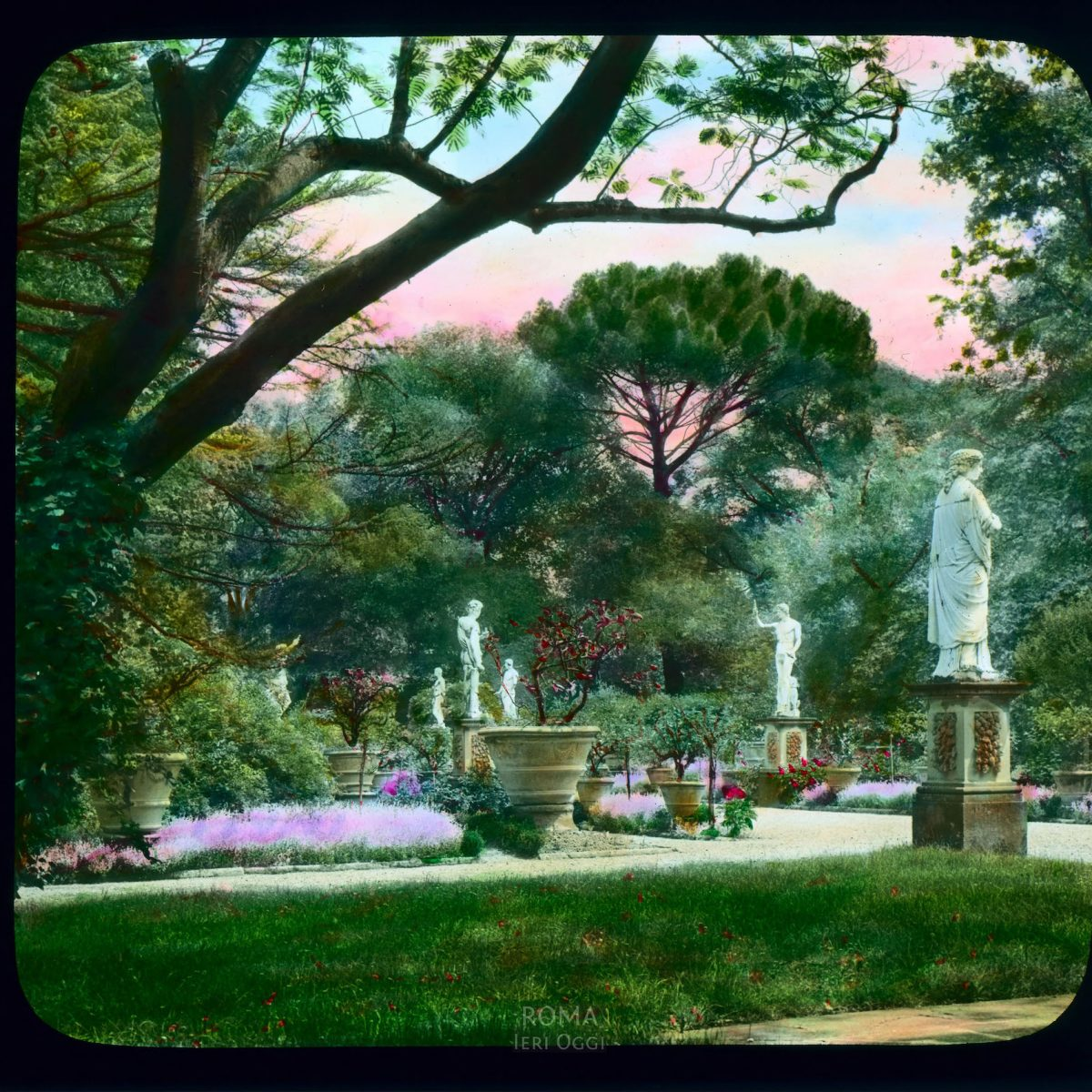 Vatican City. Vatican Gardens: view with statues View in tinted lantern slide, ca. 1919-1938