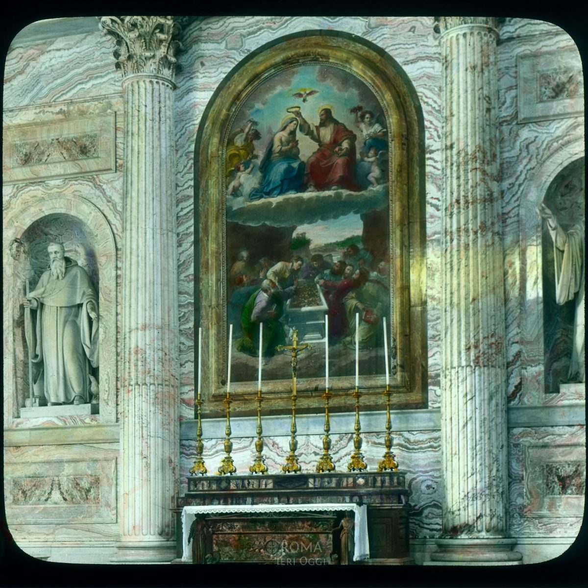 Vatican City. St. Peter's Basilica: interior, altar with mosaic of the Assumption and Coronation View in tinted lantern slide, ca. 1919-1938. The basilica dates from ca. 1506-1626.