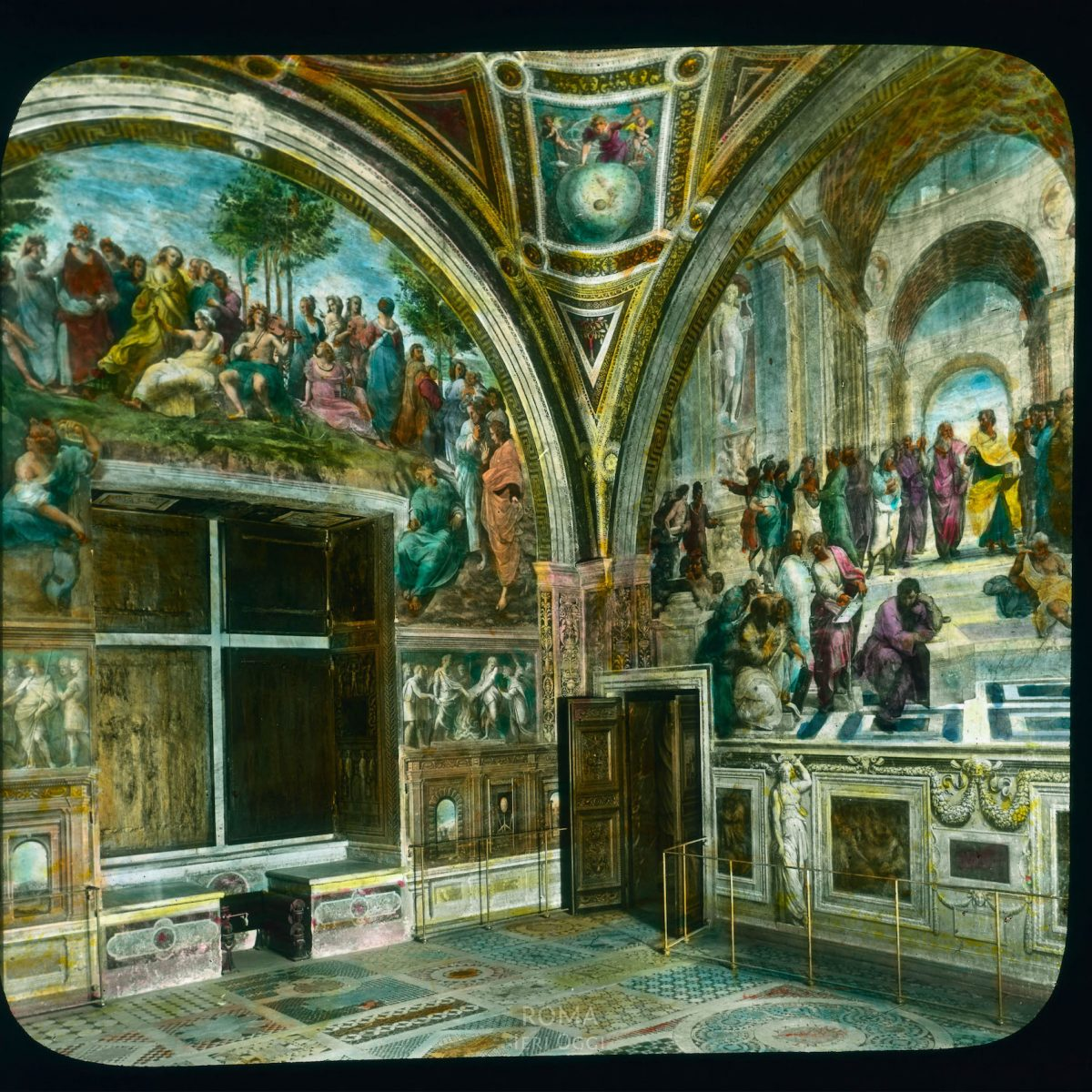 """Vatican City. Stanze della Segnatura: view of room with """"Parnassus"""" and """"School of Athens"""" View in tinted lantern slide, ca. 1919-1938. The painting dates from ca. 1508-1511."""
