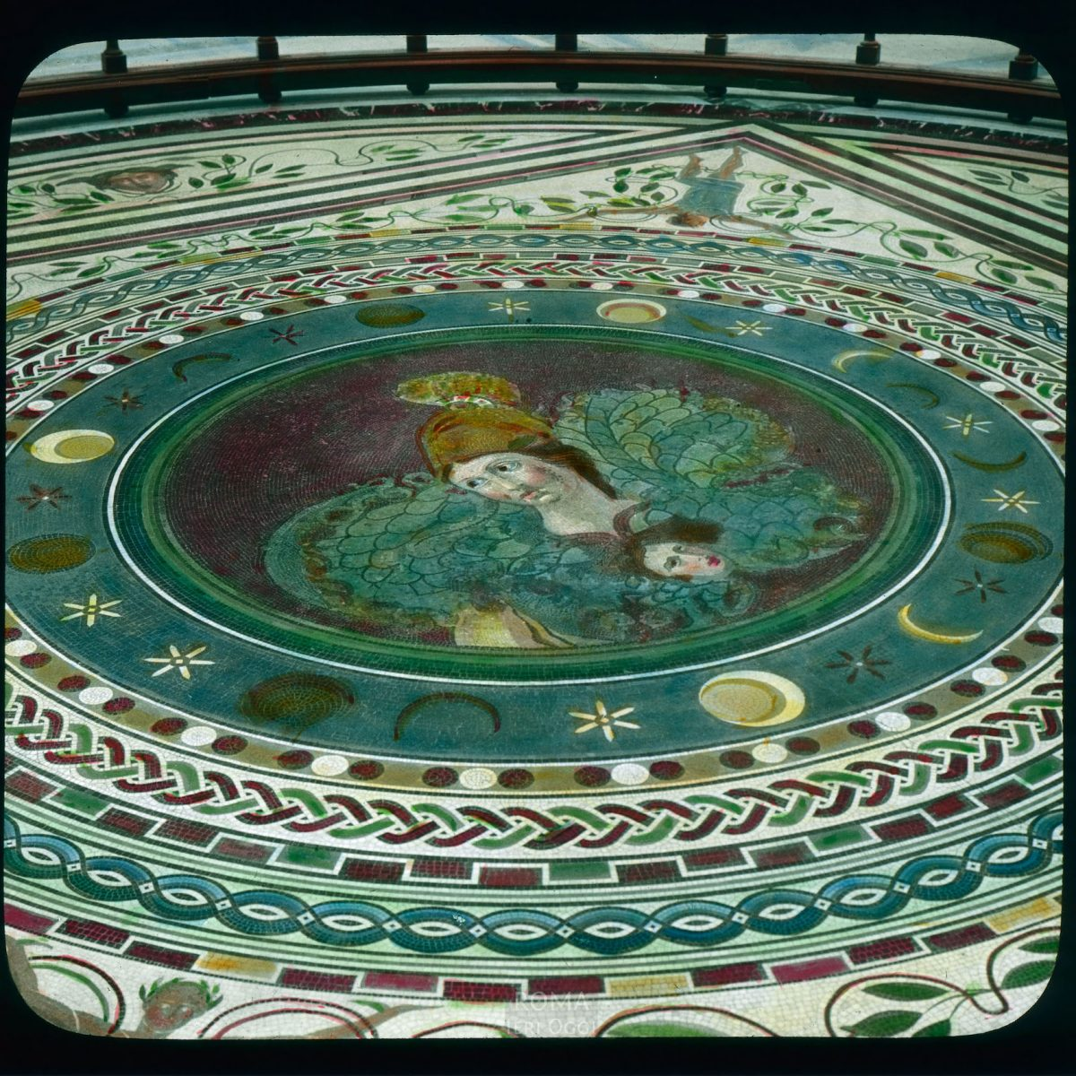 Vatican City. Vatican Museum, Museo Pio-Clementino: mosaic floor View in tinted lantern slide, ca. 1919-1938. The museum dates from ca. 1771.