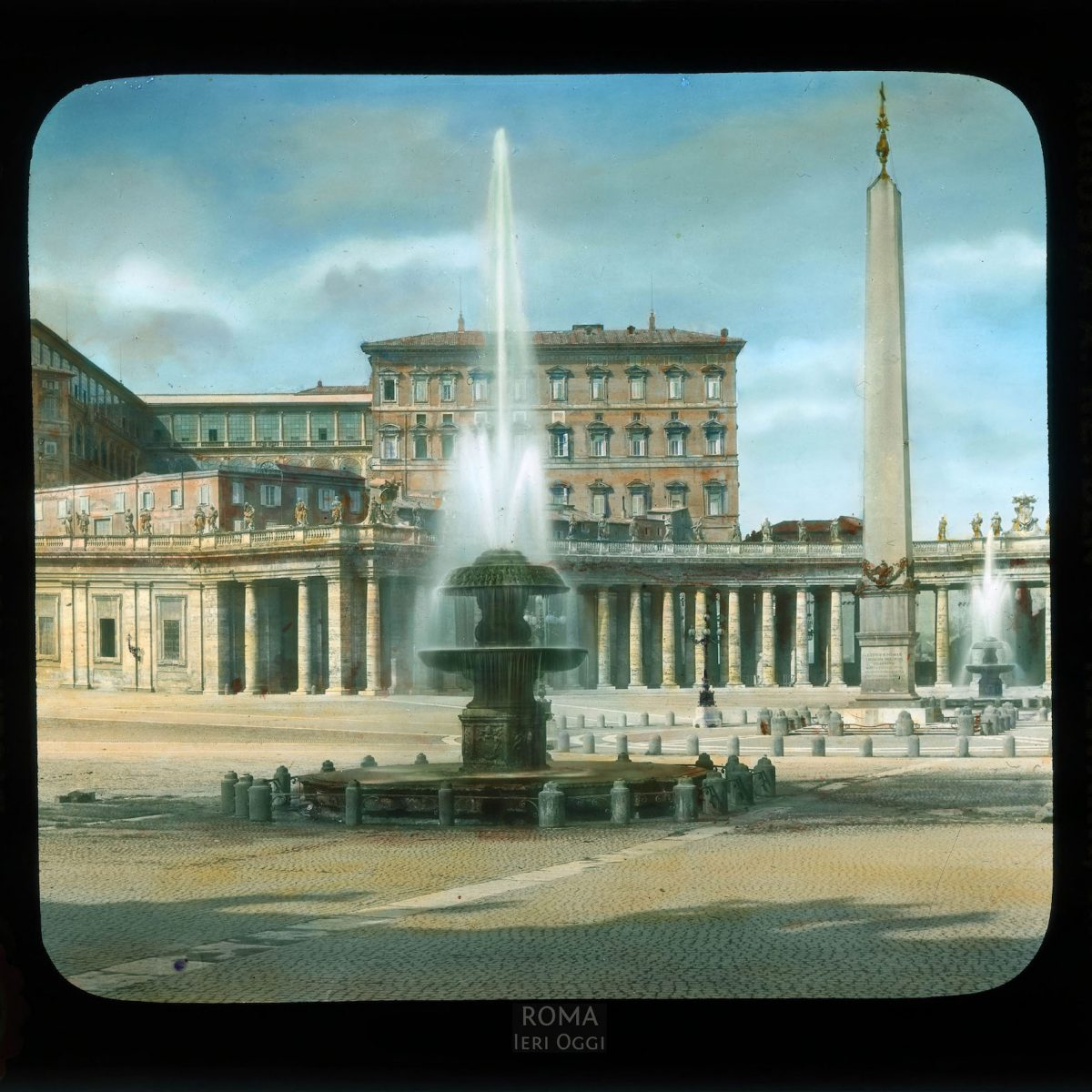Vatican City. St. Peter's Square: detail of fountains by Maderno and Egyptian obelisk (13th century B.C.E.) View in tinted lantern slide, ca. 1919-1938. The square was designed by Bernini, 1656-1667.