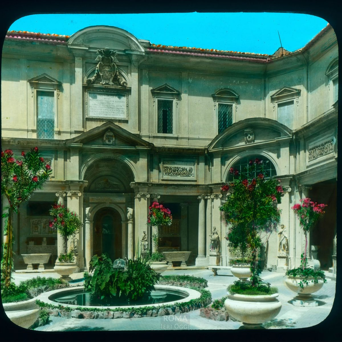 Vatican City. Vatican Museums: view of the Cortile Ottagono View in tinted lantern slide, ca. 1919-1938. The building dates from 1771-1773.