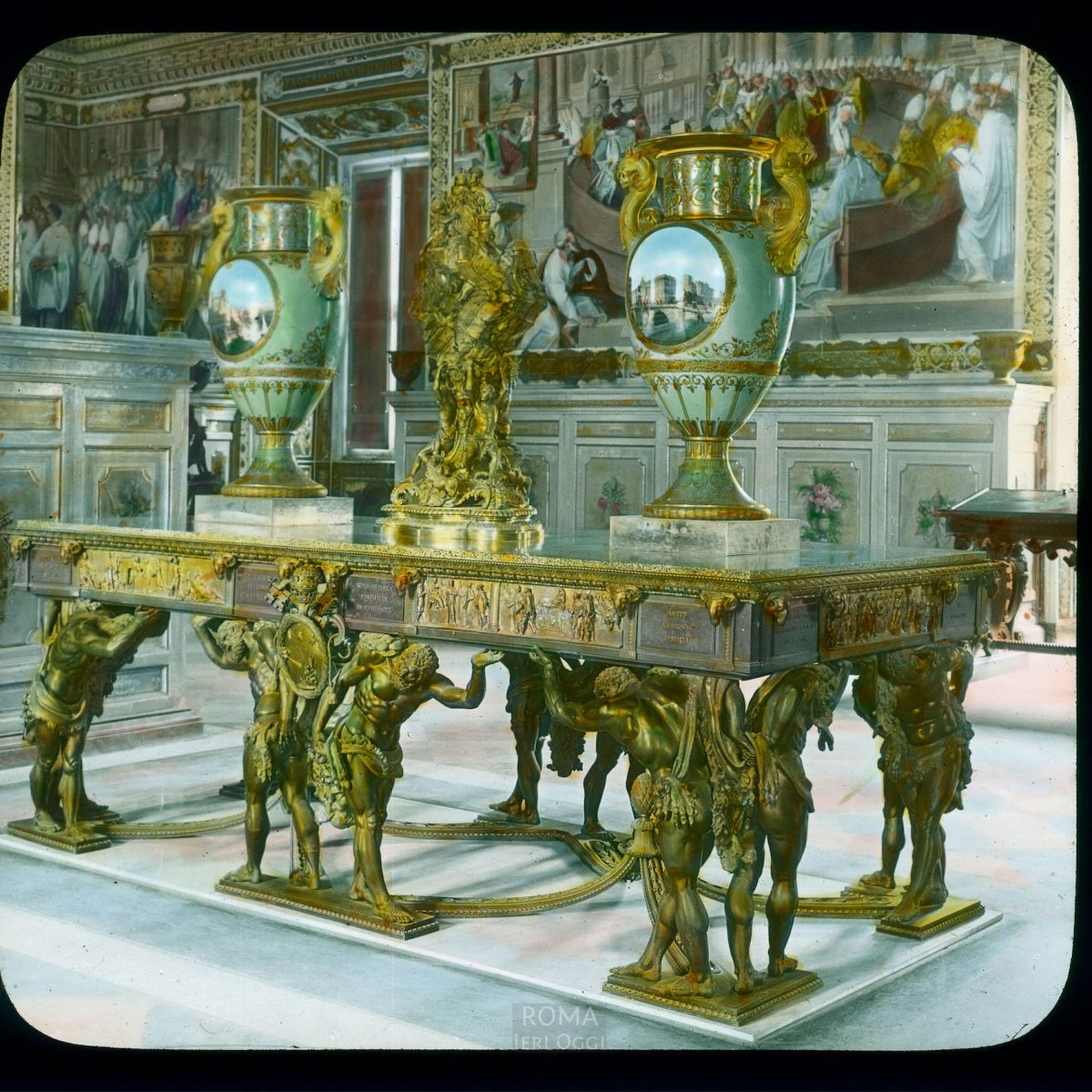 Vatican City. Vatican Museum, Museo Pio-Clementino: interior, room with large table, two vases with landscapes View in tinted lantern slide, ca. 1919-1938. The museum dates from ca. 1771.