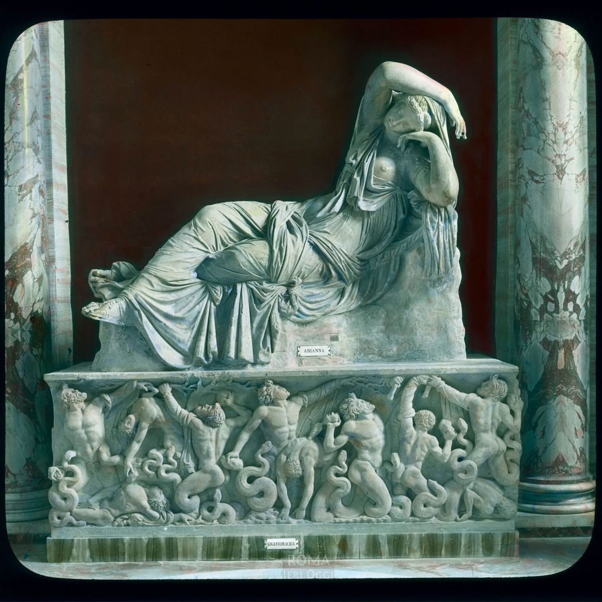 Vatican City. Vatican Museum, Museo Pio-Clementino: Sleeping Ariadne View in tinted lantern slide, ca. 1919-1938. The marble statue dates from the 2nd century B.C.E.