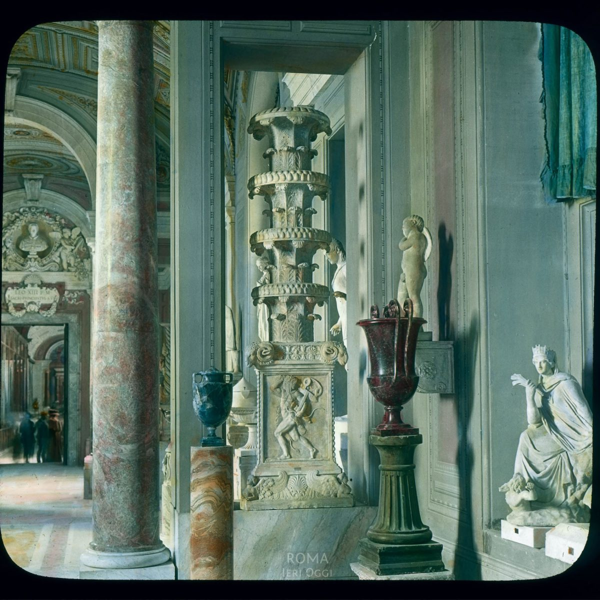 Vatican City. Vatican Museum, Museo Pio-Clementino: interior, Gallery of the Candelabra View in tinted lantern slide, ca. 1919-1938. The museum dates from ca. 1771.