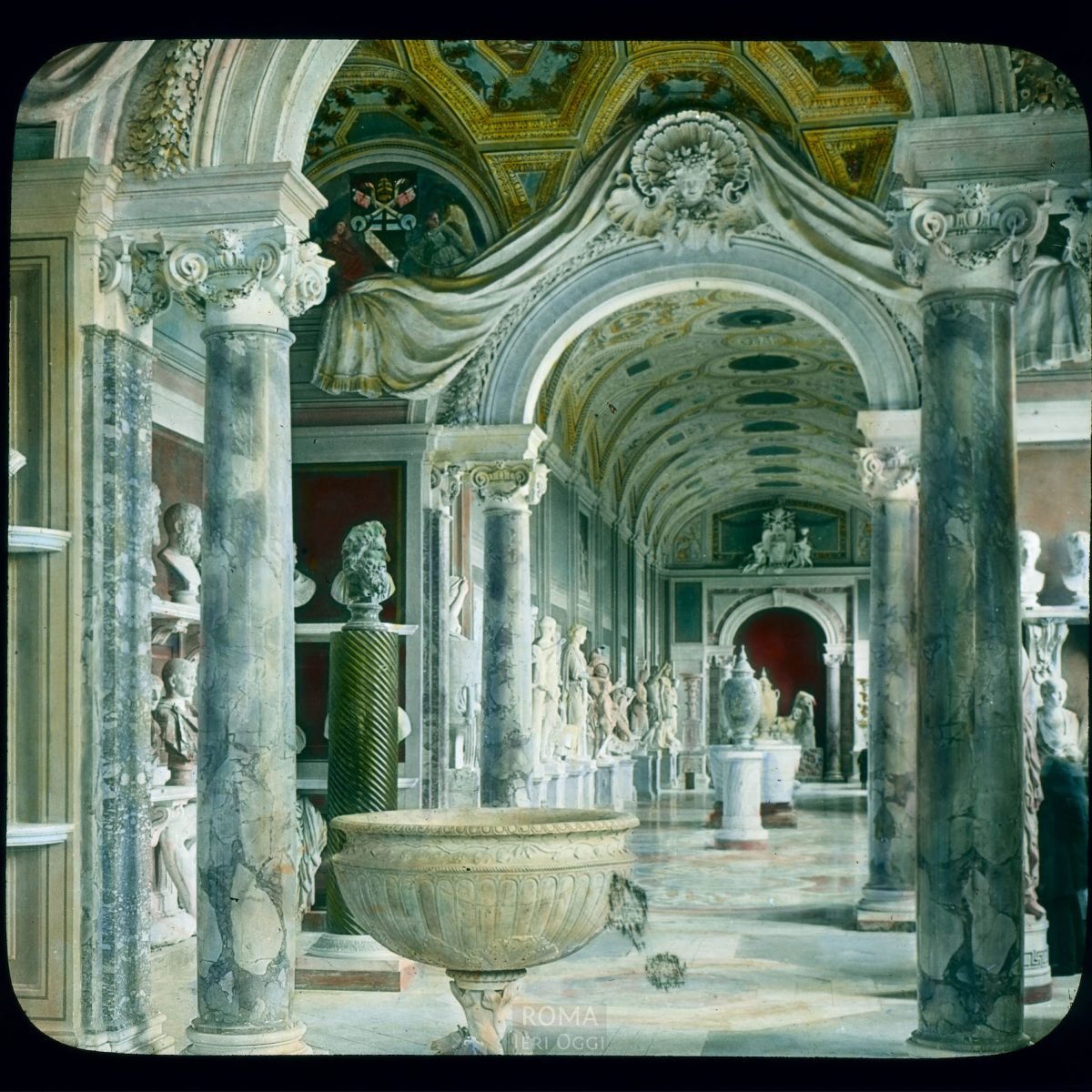 Vatican City. Vatican Museum, Museo Pio-Clementino: interior, Gallery of the Statues View in tinted lantern slide, ca. 1919-1938. The museum dates from ca. 1771.