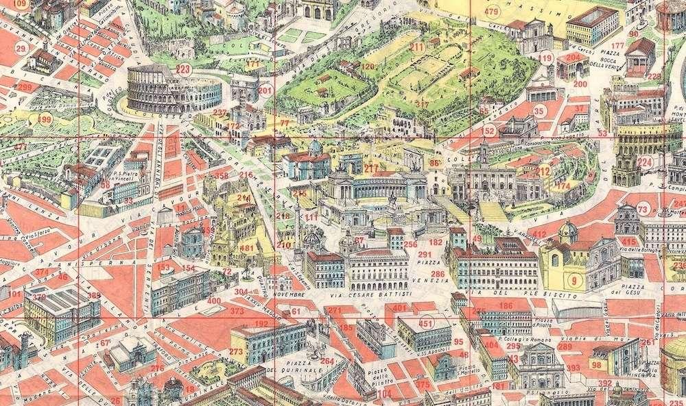 Cartina Di Roma Monumenti.Pianta Panoramica Di Roma 1960 Roma Ieri Oggi