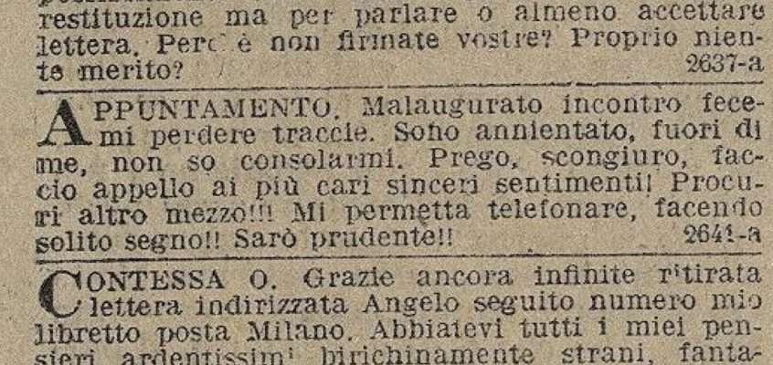 Il Giornale d'Italia 28 Gennaio 1915 Annunzi Economici: Corrispondenze