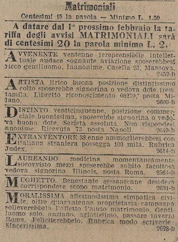 Il Giornale d'Italia 28 Gennaio 1915 Annunzi Economici: Matrimoniali
