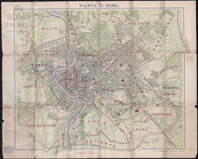 Cartina D Roma.Pianta Di Roma Istituto Geografico De Agostini 1911 Roma Ieri Oggi