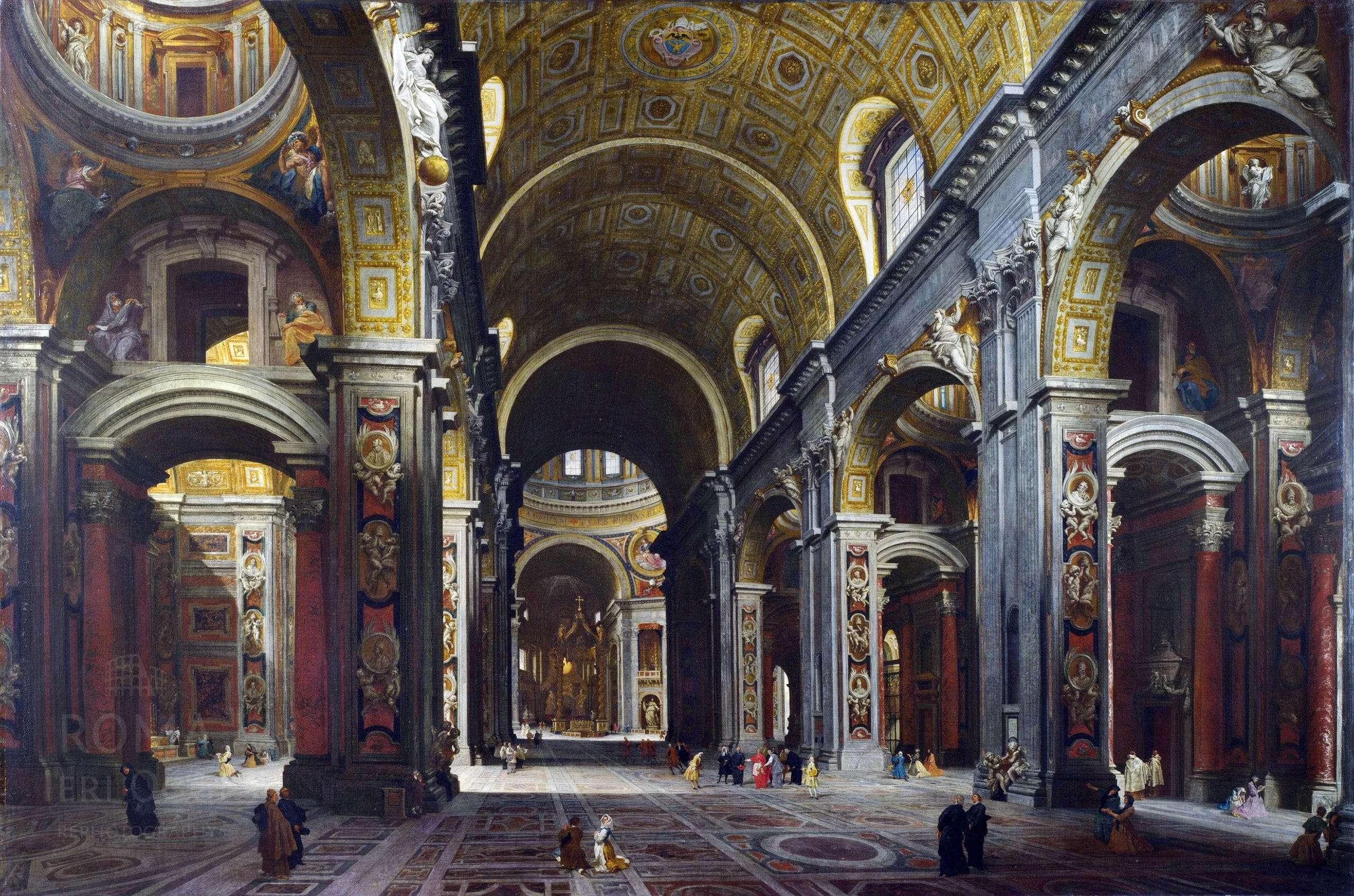 Basilica di san pietro interno giovanni paolo pannini for Interno san pietro