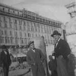 Alessandro Rinaldi - Il signore con giacca nera Armando Grossi (mio zio) primi anni del 900 Piazza di San Giovanni in Laterano