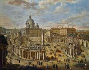 Vista panoramica della Piazza San Pietro (Jacopo Fabris, XVIII secolo)