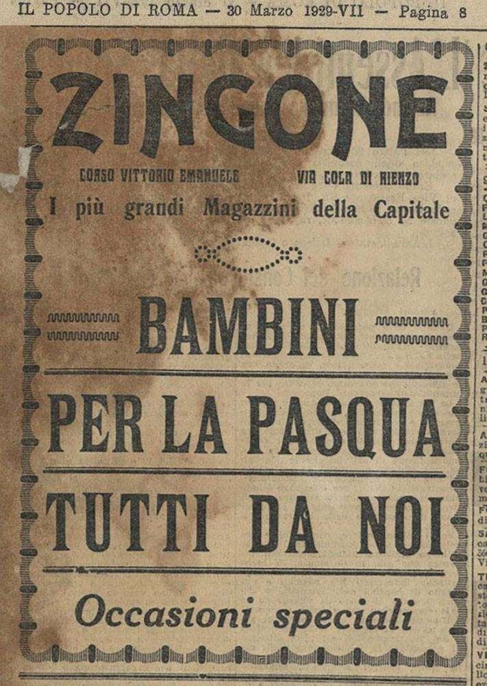 Pubblicità Il Popolo di Roma del 1929