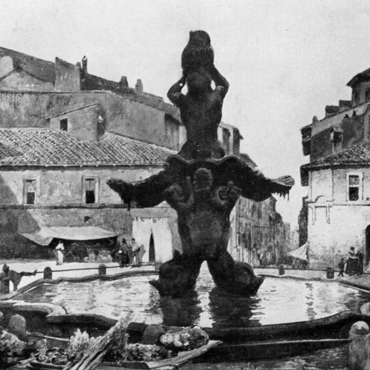 Piazza Barberini - Acquerello Ettore Roesler Franz