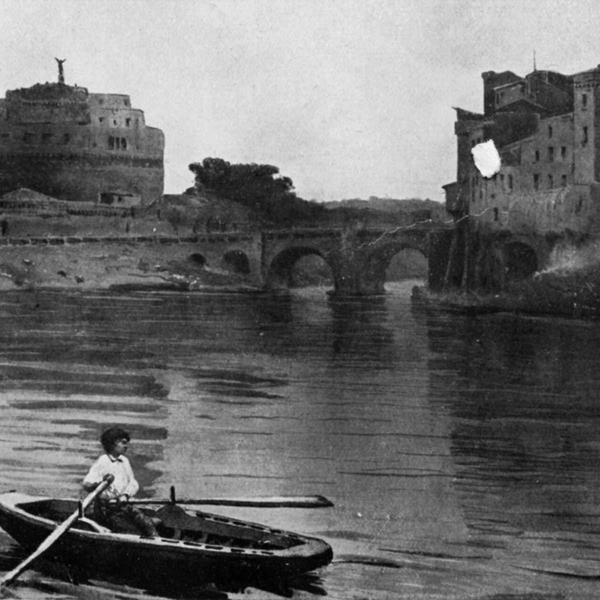 Castel Sant'Angelo - Acquerello Ettore Roesler Franz