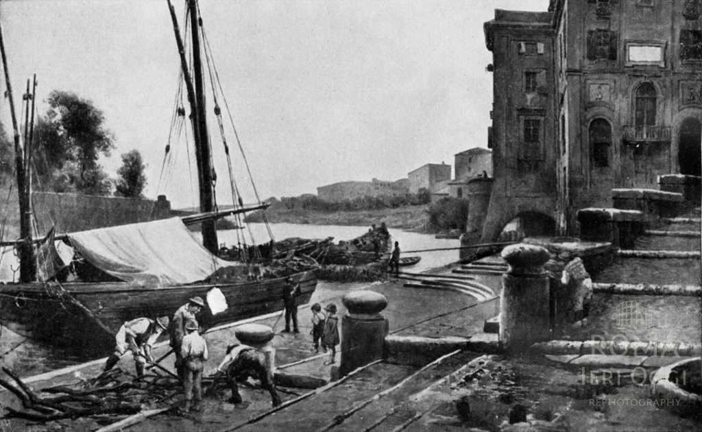 Porto di Ripetta - Acquerello Ettore Roesler Franz