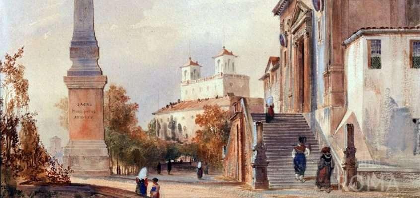 La Chiesa della Trinità dei monti a Roma (Charles Pierron, XIX sec.)