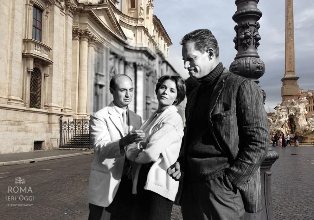 Elsa Martinelli e Charlton Heston a Piazza Navona